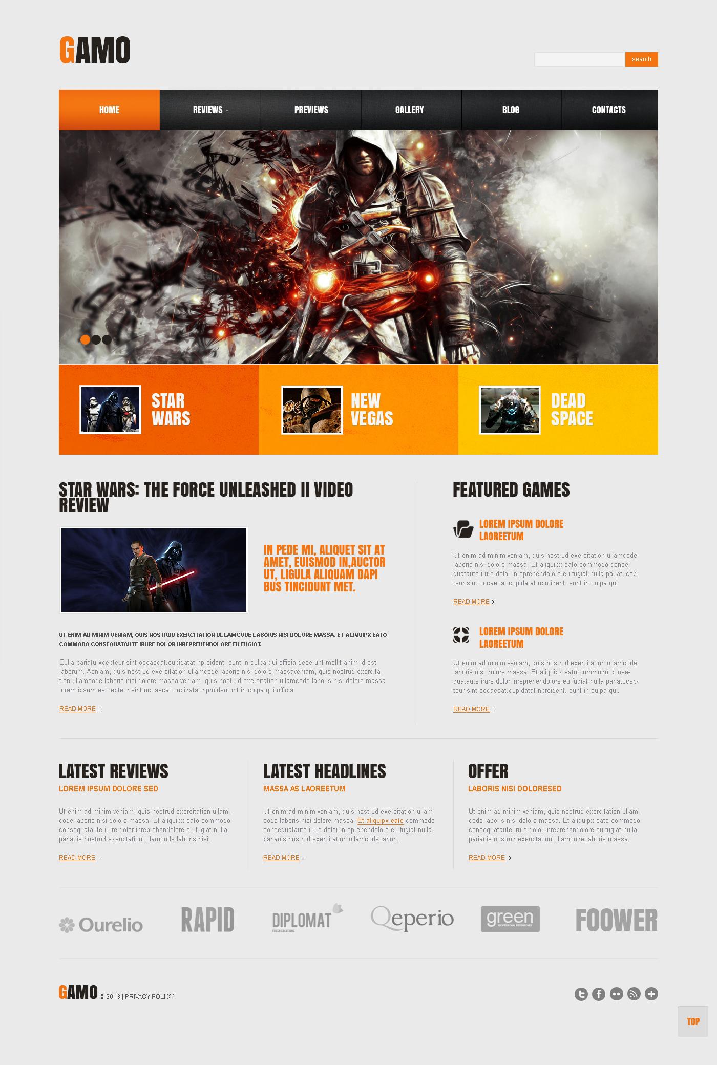 Адаптивний WordPress шаблон на тему ігровий портал №45518 - скріншот