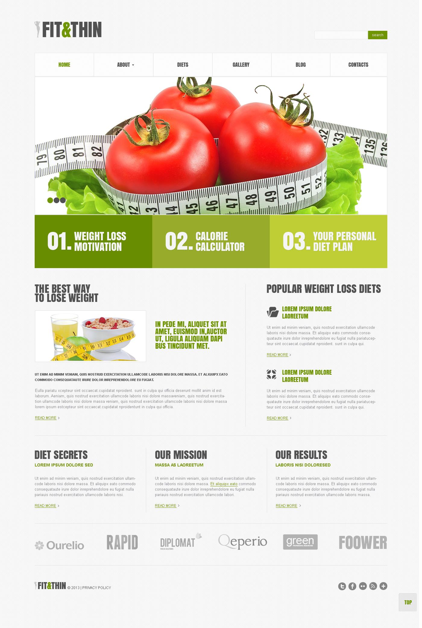 Адаптивний WordPress шаблон на тему втрата ваги №45516