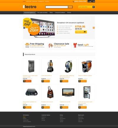 Адаптивный OpenCart шаблон №45570 на тему магазин электроники #45570