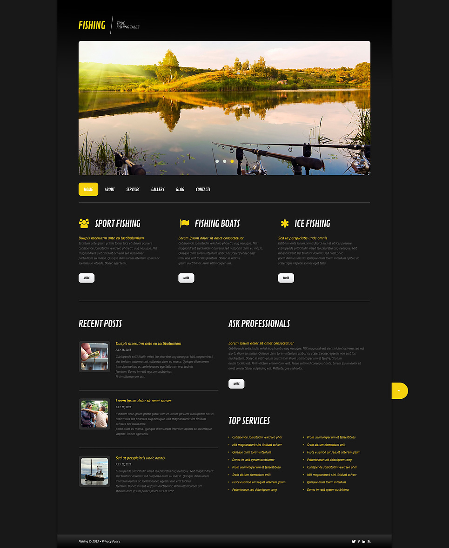 Адаптивный шаблон сайта на тему рыбалка #45578