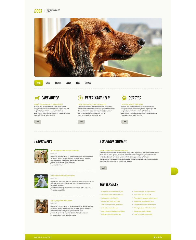 Адаптивный шаблон сайта на тему собаки #45579