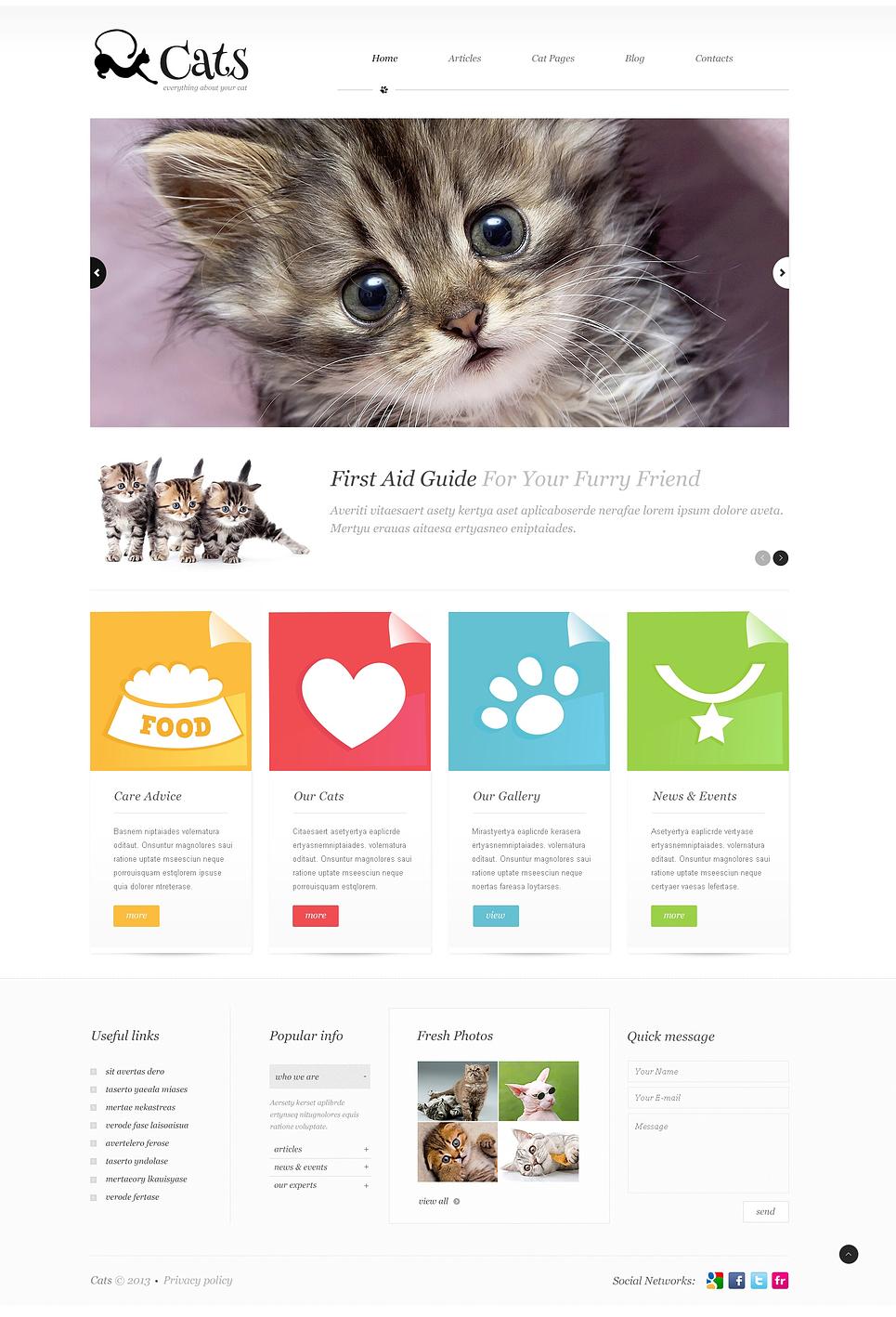 Адаптивный шаблон сайта на тему кошки #45582