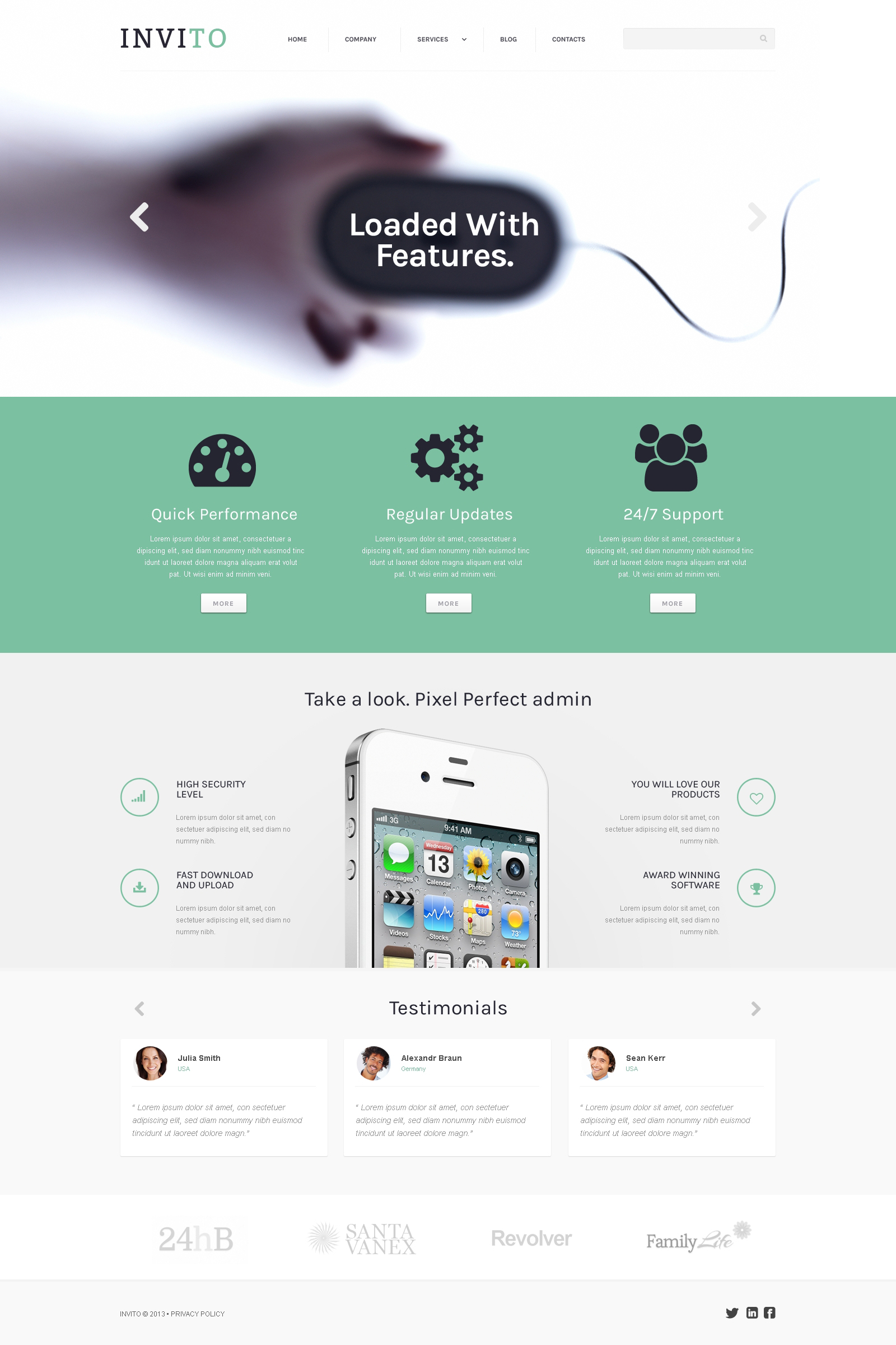 """Blurred Mobile Company"" Responsive WordPress thema №45543 - screenshot"