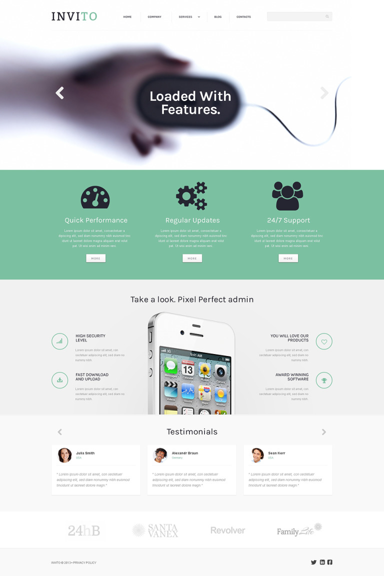 Blurred Mobile Company WordPress Theme New Screenshots BIG