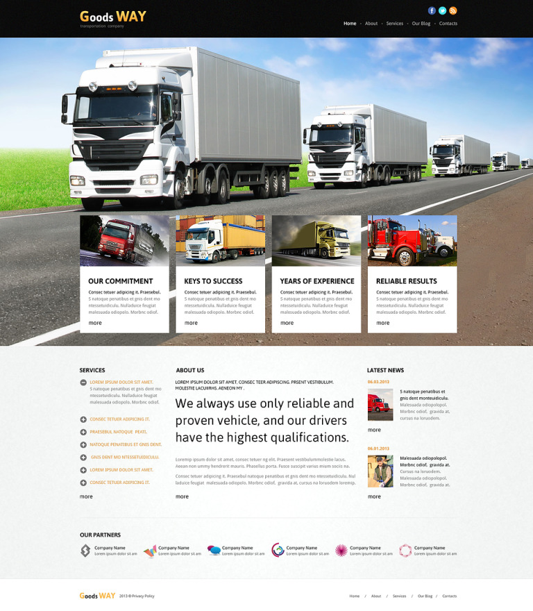 Bright Trucking Joomla Template New Screenshots BIG