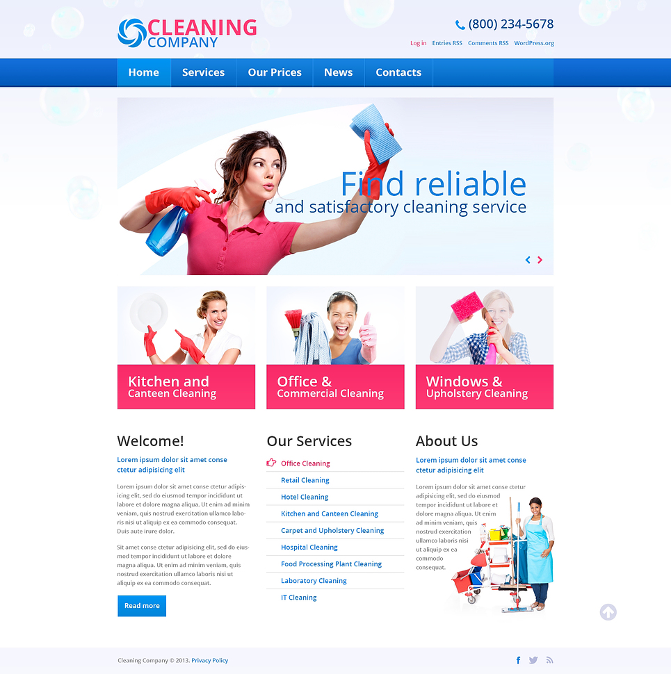 Cleaning Services WordPress Theme #45537