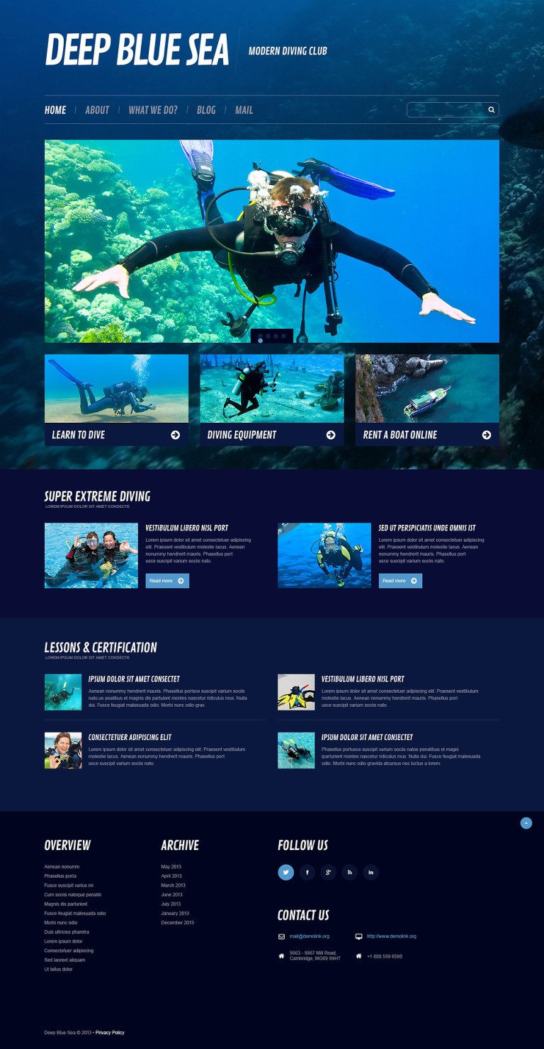 Diving Responsive WordPress Theme New Screenshots BIG