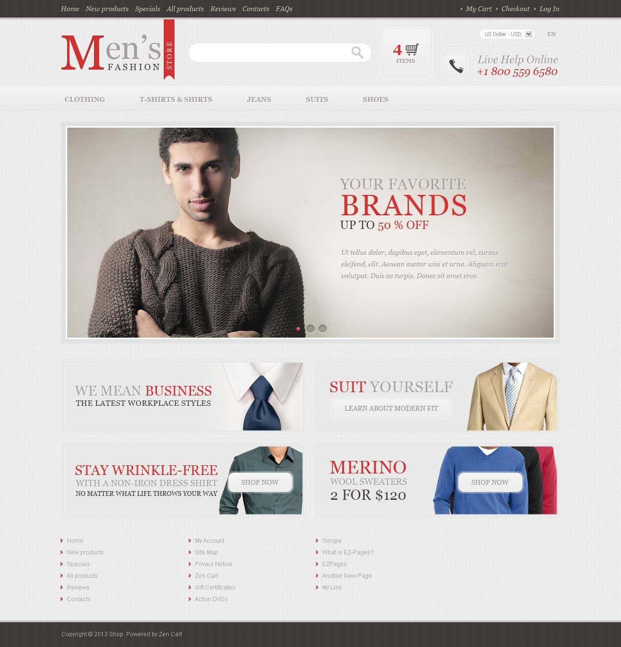 """Men's Fashion Store"" ZenCart template №45555 - screenshot"