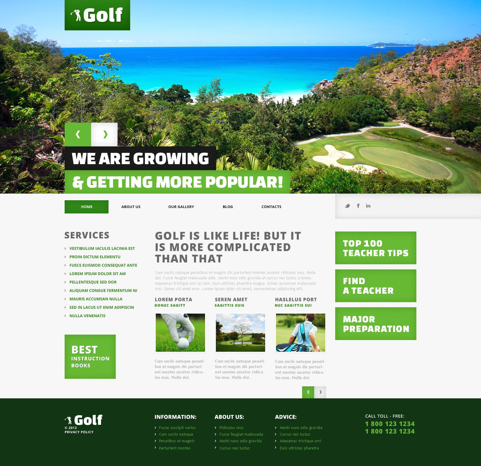 Modello WordPress Responsive #45545 per Un Sito di Golf - screenshot