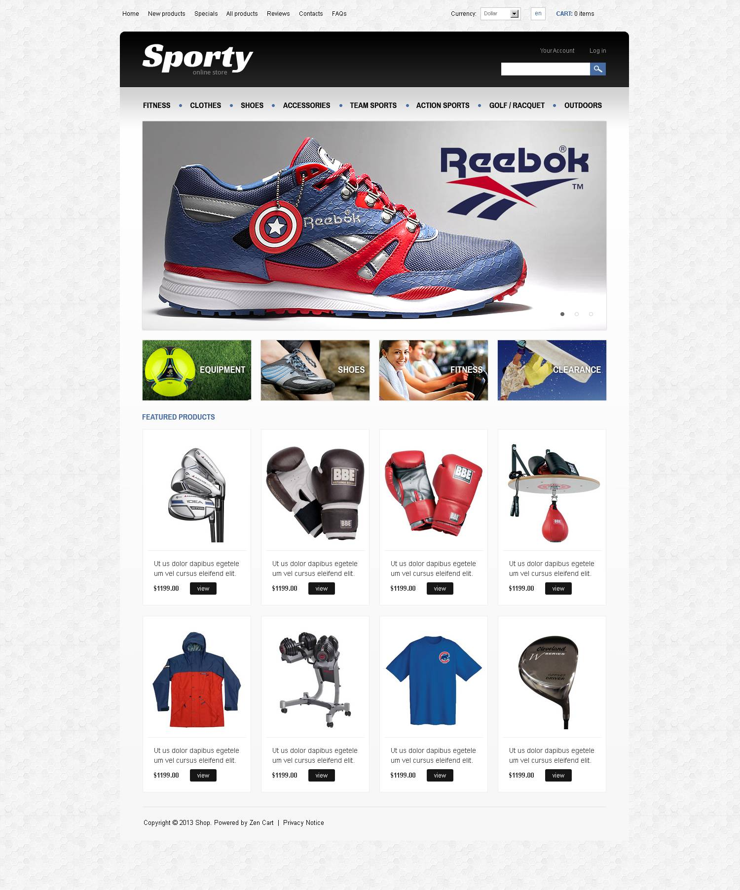 "Modello ZenCart #45590 ""Sporty"""