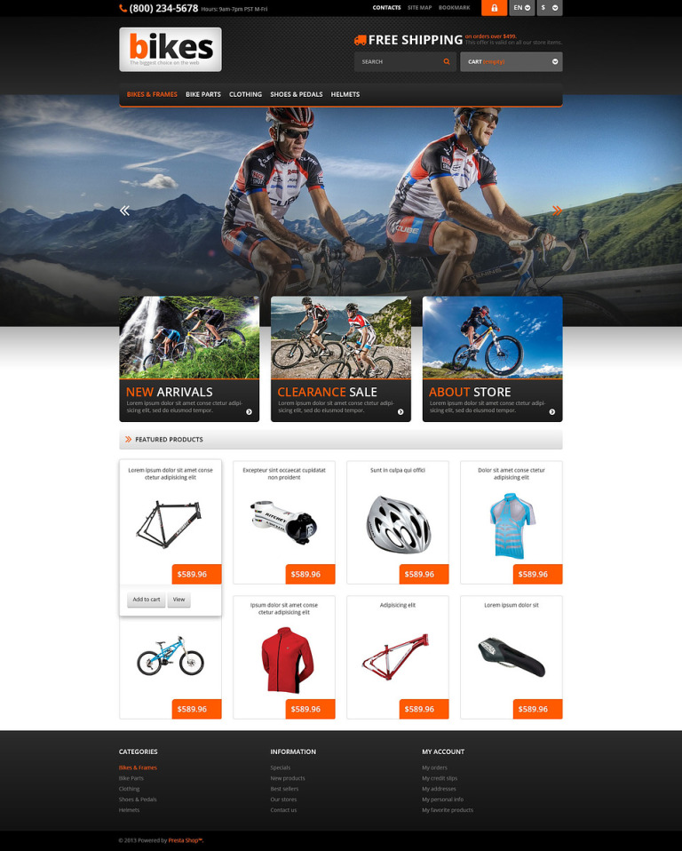 Responsive Bikes Store PrestaShop Theme New Screenshots BIG