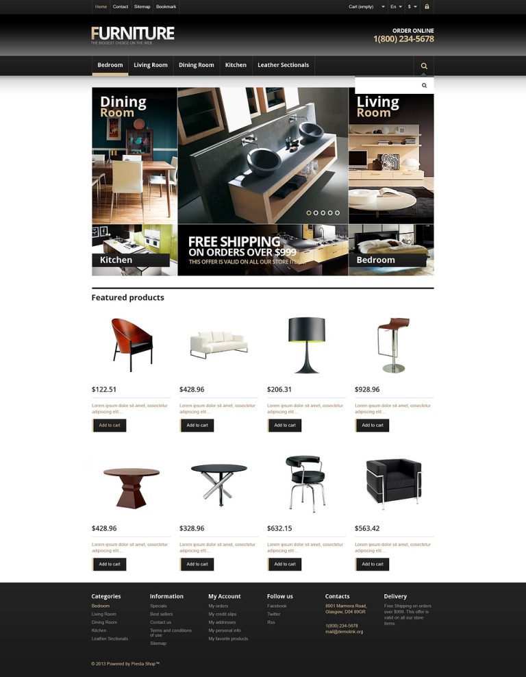 Responsive Furniture Store PrestaShop Theme New Screenshots BIG
