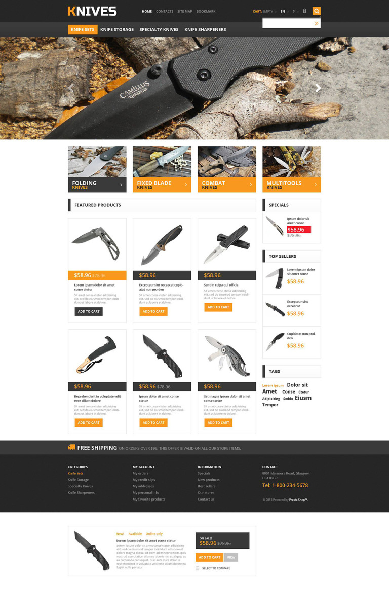 Responsive Knives Store PrestaShop Theme New Screenshots BIG