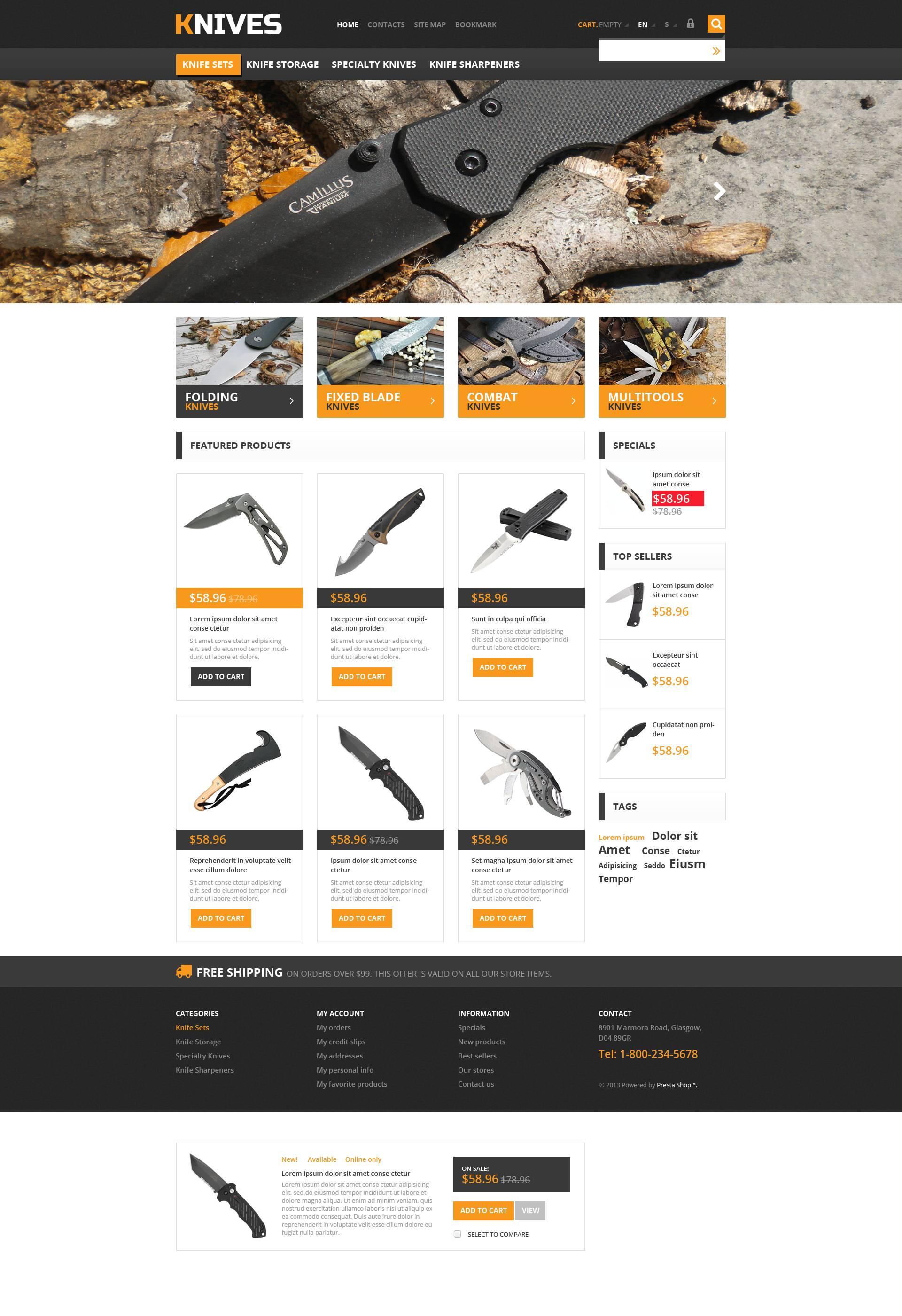Responsive Knives Store PrestaShop Theme #45553