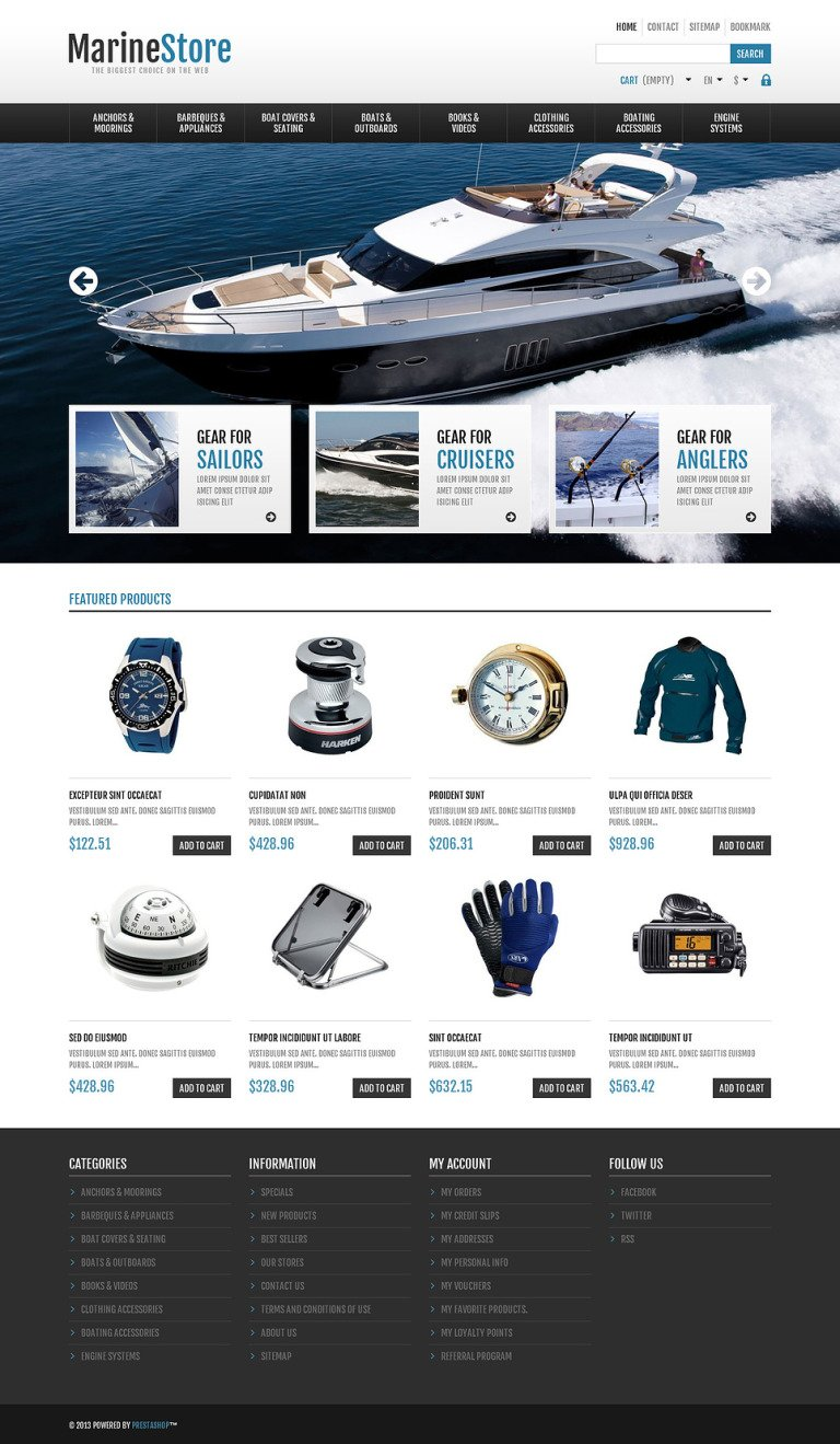 Responsive Marine Store PrestaShop Theme New Screenshots BIG