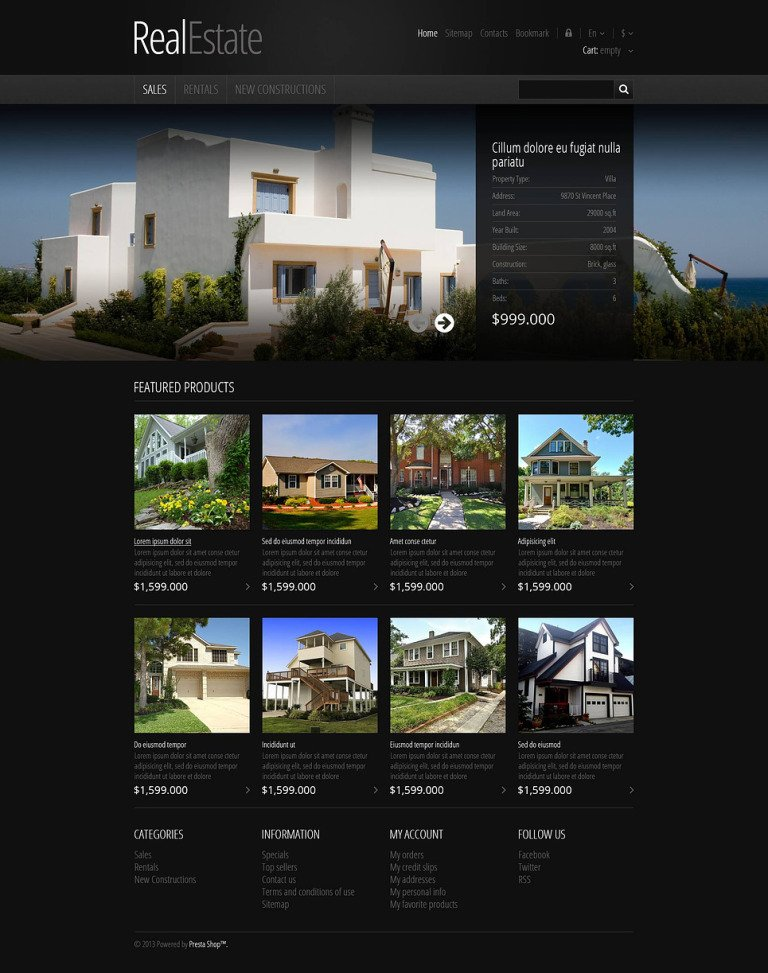 Responsive Real Estate Store PrestaShop Theme New Screenshots BIG