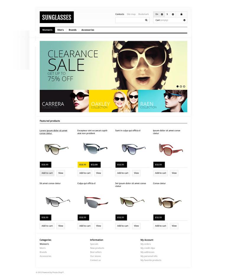 Responsive Sunglasses Store PrestaShop Theme New Screenshots BIG