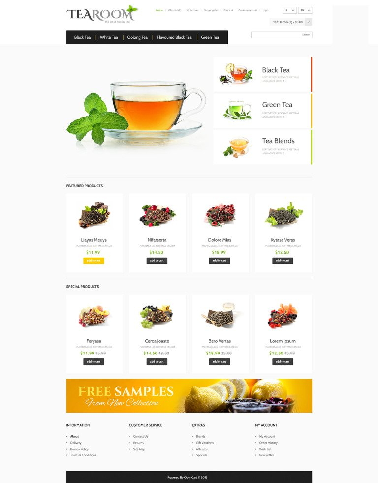 Responsive Tea Shop OpenCart Template New Screenshots BIG