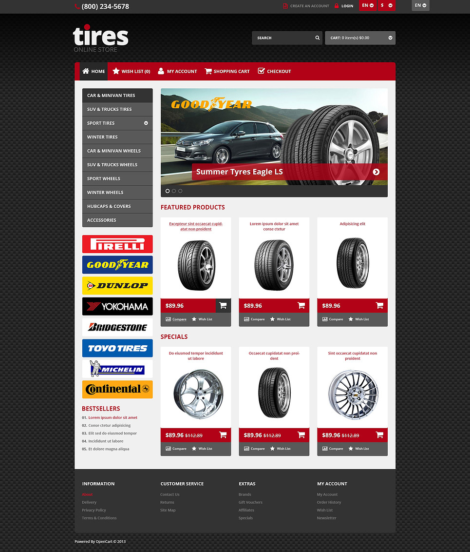 Responsive Tires Store OpenCart Template New Screenshots BIG