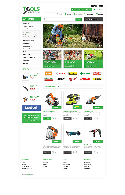 Responsive Tools Store OpenCart Template New Screenshots BIG