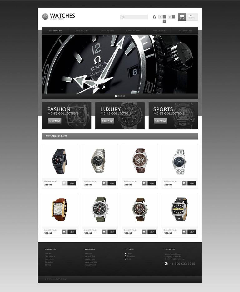 Responsive Watch Store PrestaShop Theme New Screenshots BIG