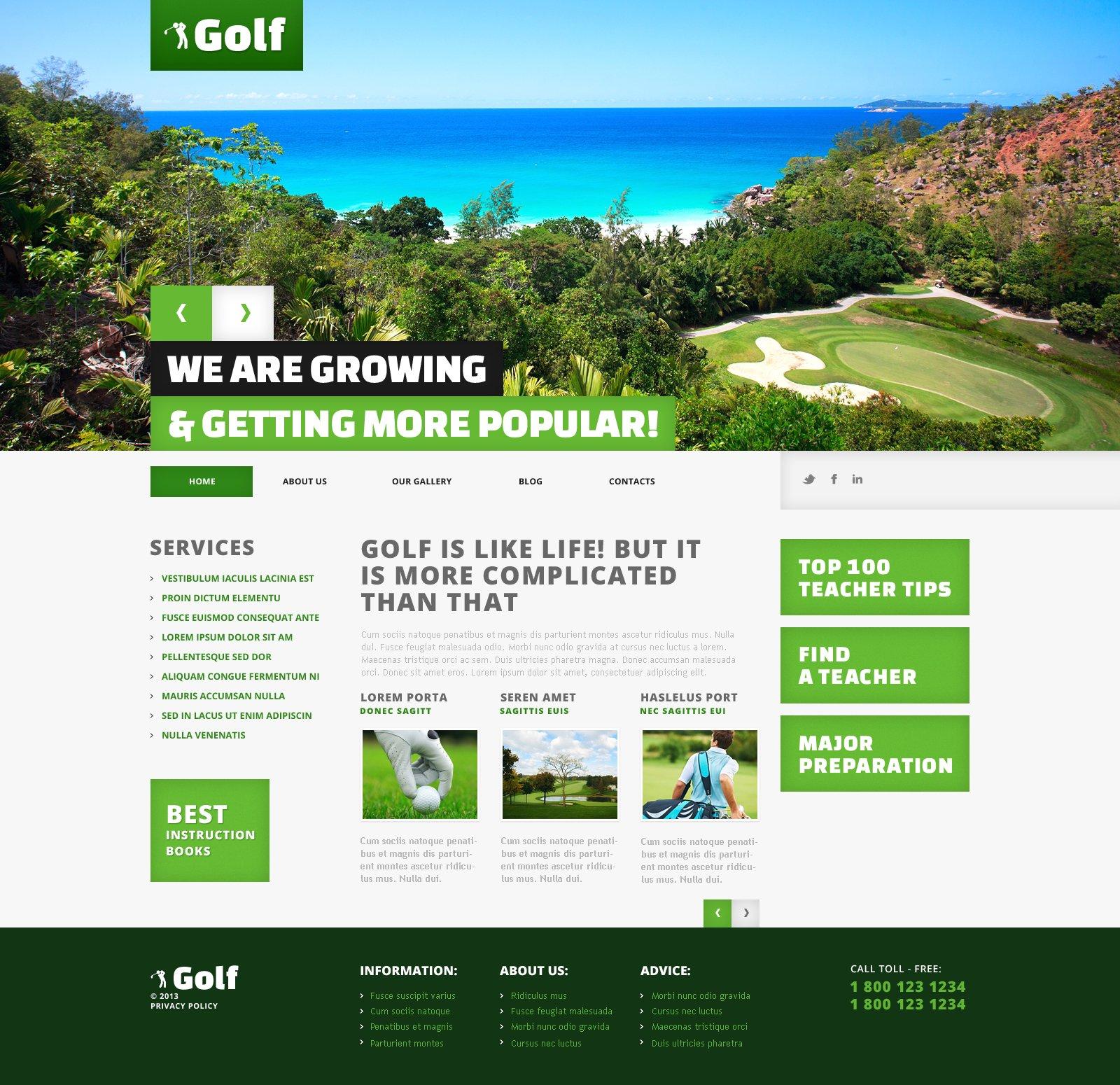 Responsive WordPress thema over Golf №45545 - screenshot
