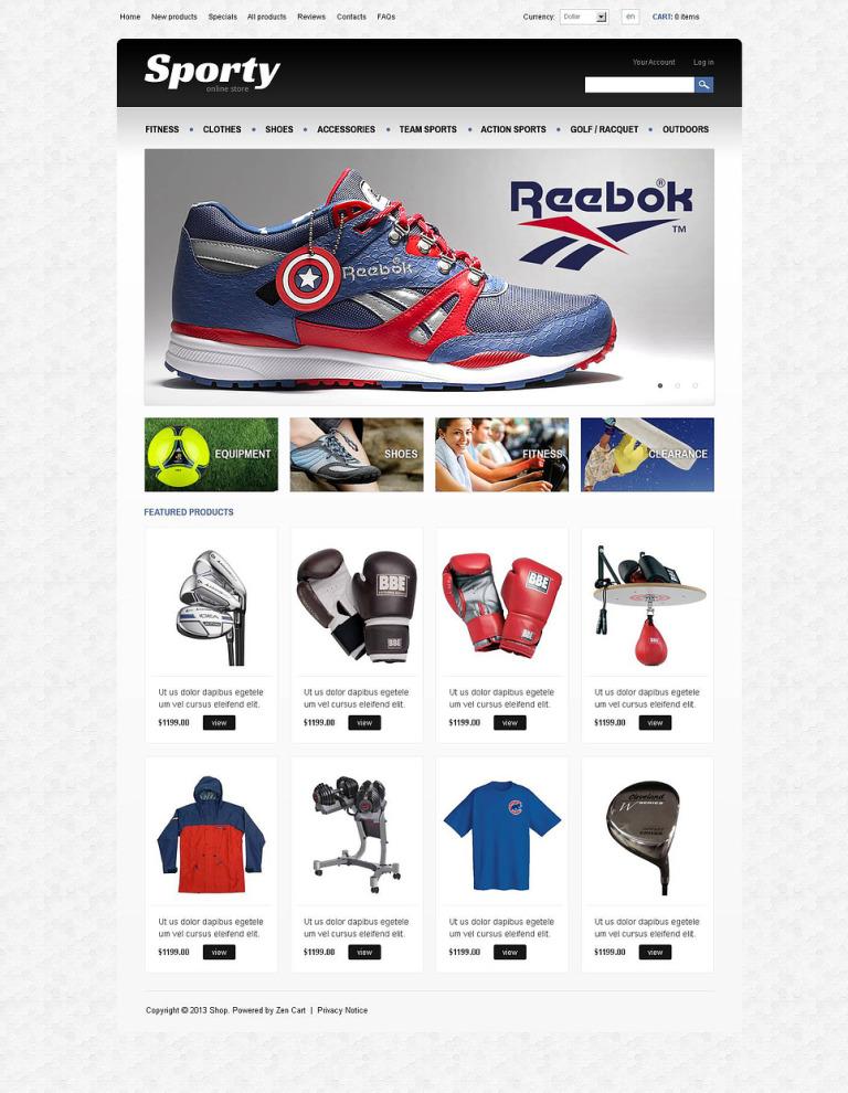 Sporty ZenCart Template New Screenshots BIG