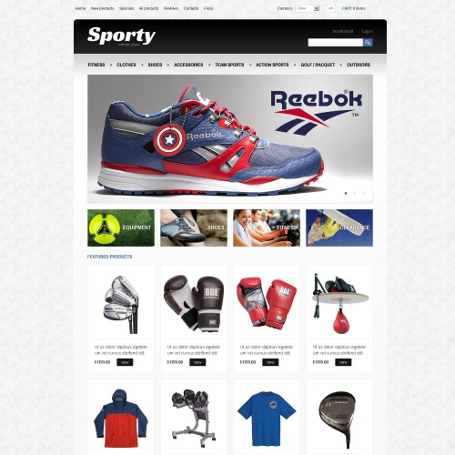 Sporty - HTML5 ZenCart Athletic Store Template