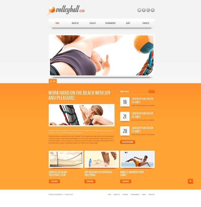 Volleyball Club Drupal Template New Screenshots BIG