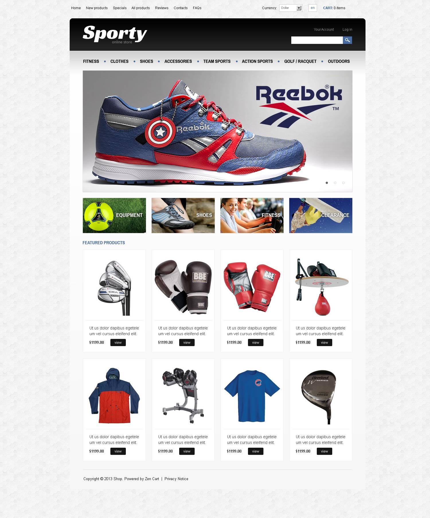 """ZenCart Vorlage namens """"Sporty"""" #45590"""