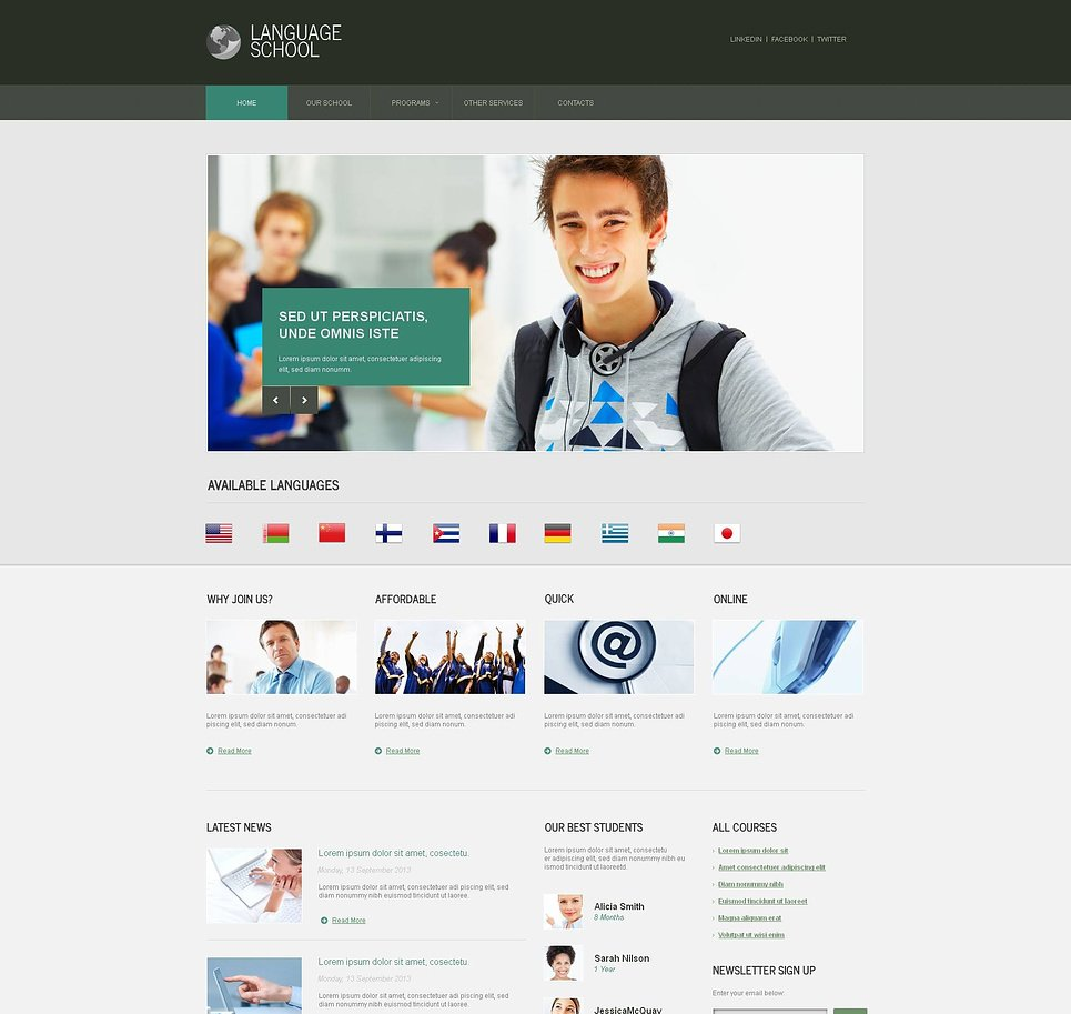 Language School Website Template with a Content Slider - image