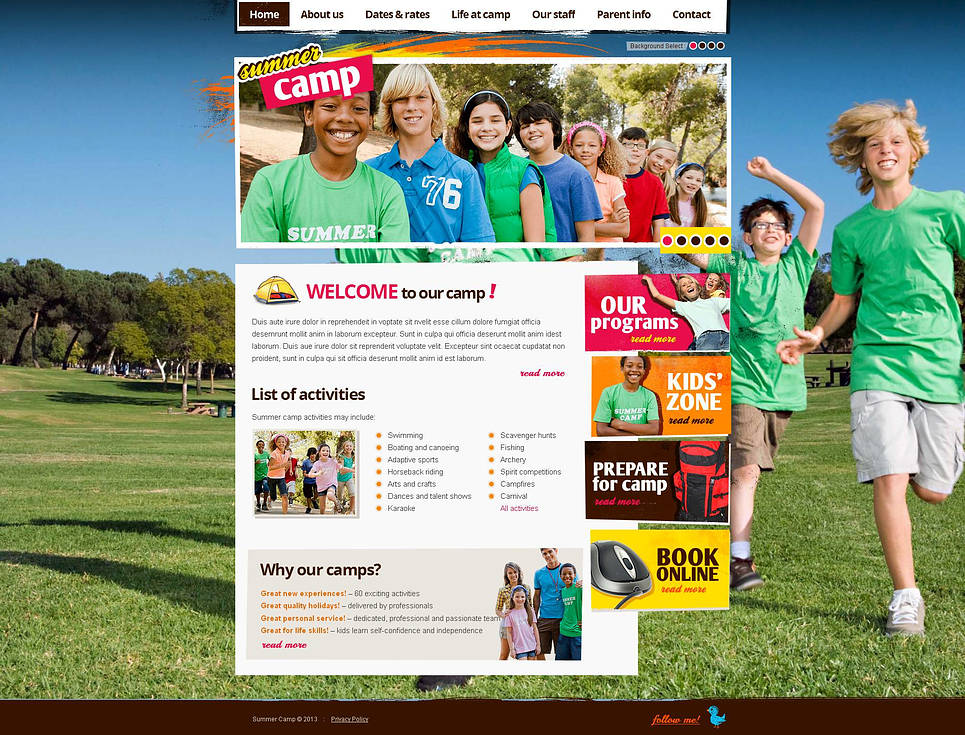 Summer Camp Website Template - image