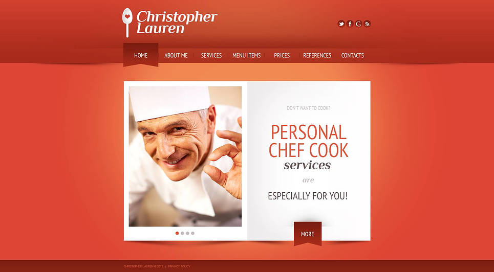 Personal Chef Cook Website Template - image