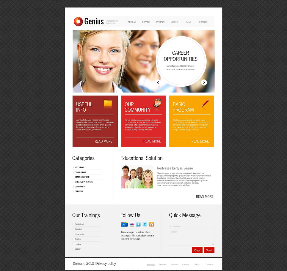 Business School Website Template with Colorful Bricks - image