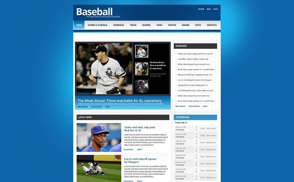 Template Moto CMS HTML para Sites de Basebol №45621 New Screenshots BIG