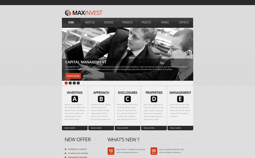 Premium Moto CMS HTML Template over Investeringsmaatschappij  New Screenshots BIG