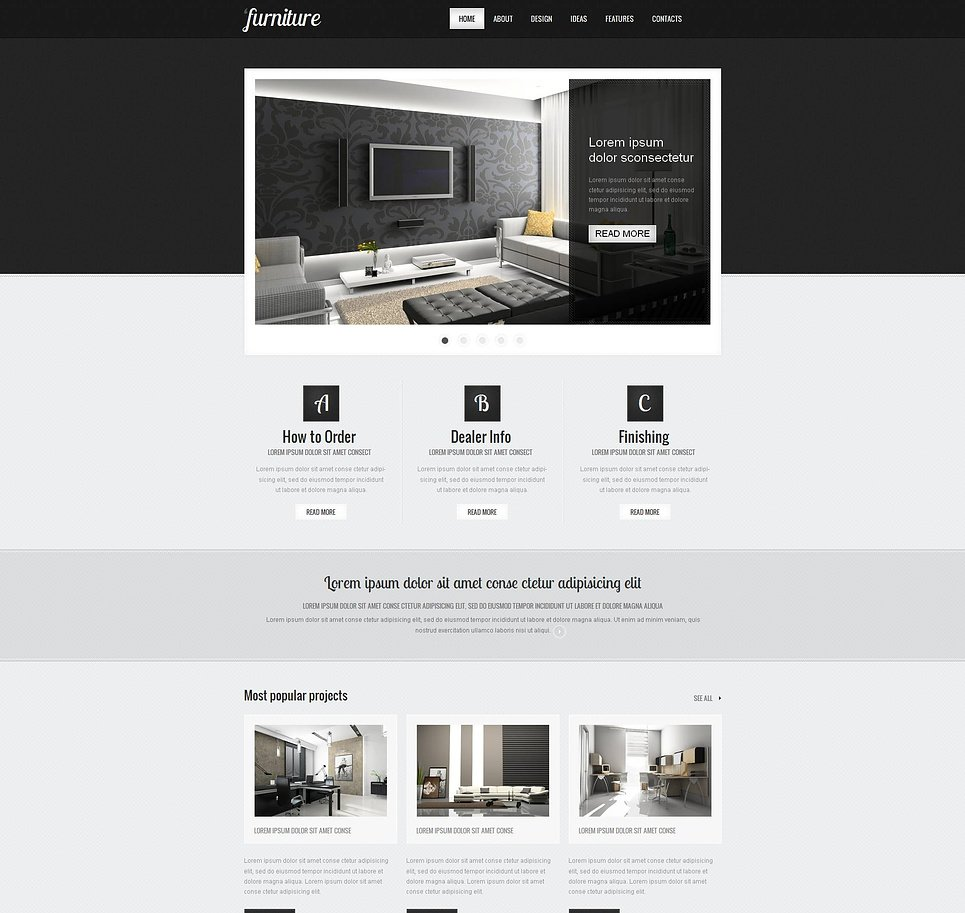 Black and White Furniture Website Template with jQuery Slider - image