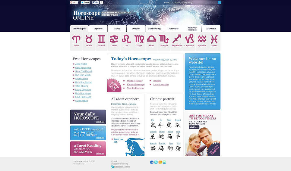 Szablon Flash CMS #45650 na temat: astrologia New Screenshots BIG