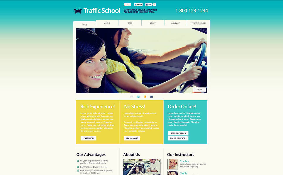 Flash CMS шаблон на тему школа водіїв New Screenshots BIG