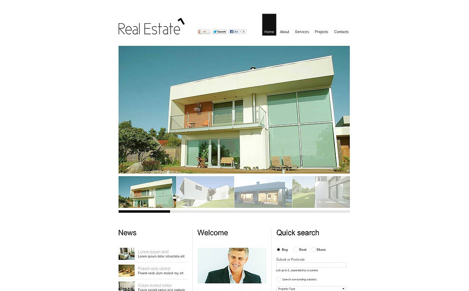 Flash CMS Vorlage für Immobilienagentur  New Screenshots BIG