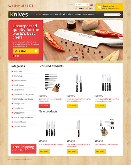 ZenCart Template 45674 Main Page Screenshot