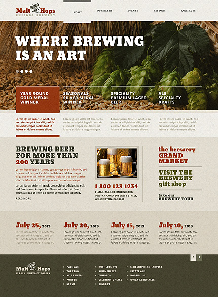 Brewery templates website template 45693 for Brewery layout software