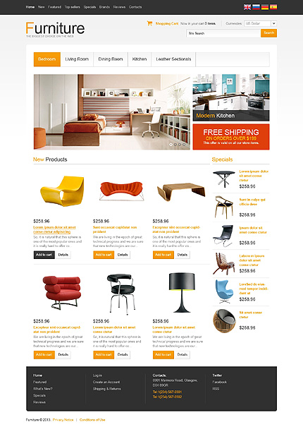osCommerce Template 45697 Main Page Screenshot