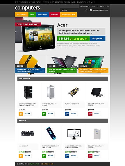 osCommerce Template 45698 Main Page Screenshot
