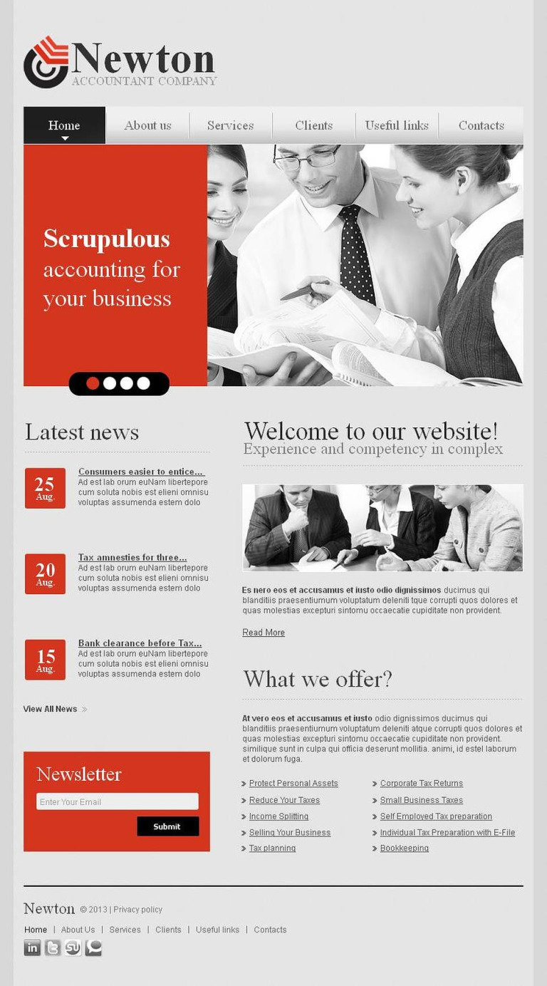 Accounting Website Facebook HTML CMS Template New Screenshots BIG