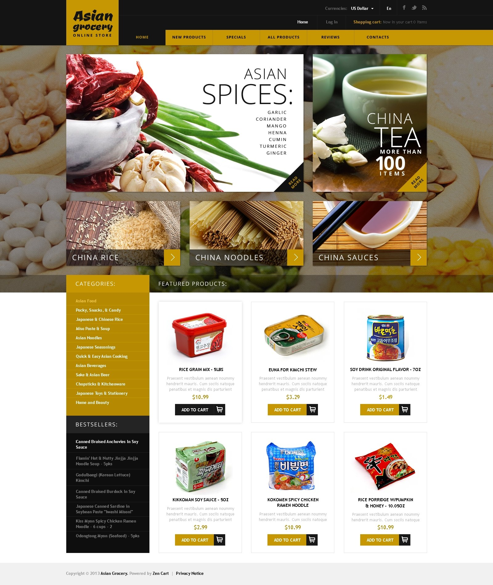 Asian Grocery Template ZenCart №45677