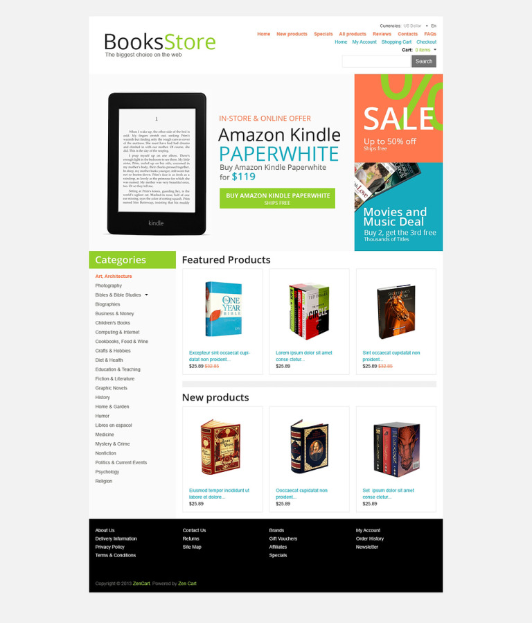 Books Store ZenCart Template New Screenshots BIG