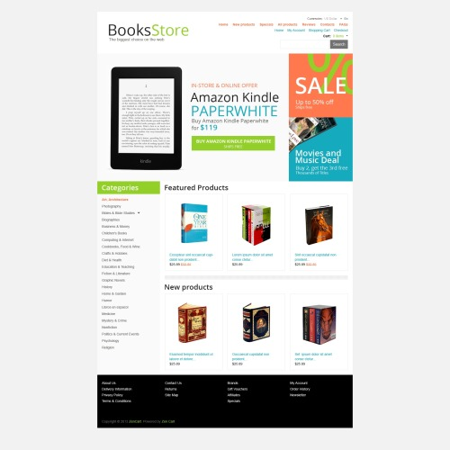 Books Store - HTML5 ZenCart Template