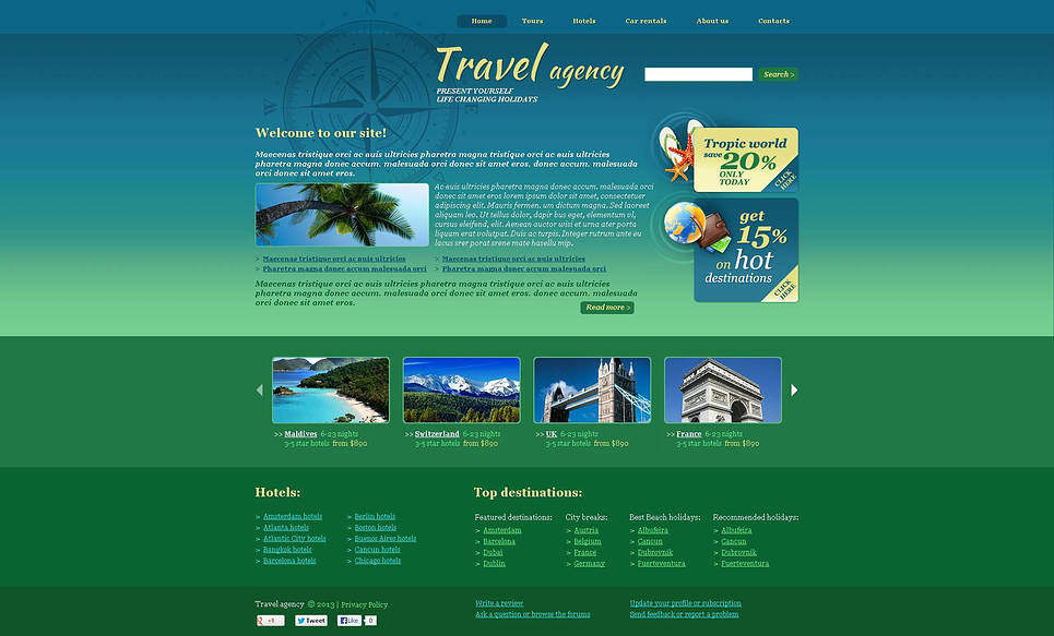 Flash CMS шаблон на тему туристичне агентство New Screenshots BIG