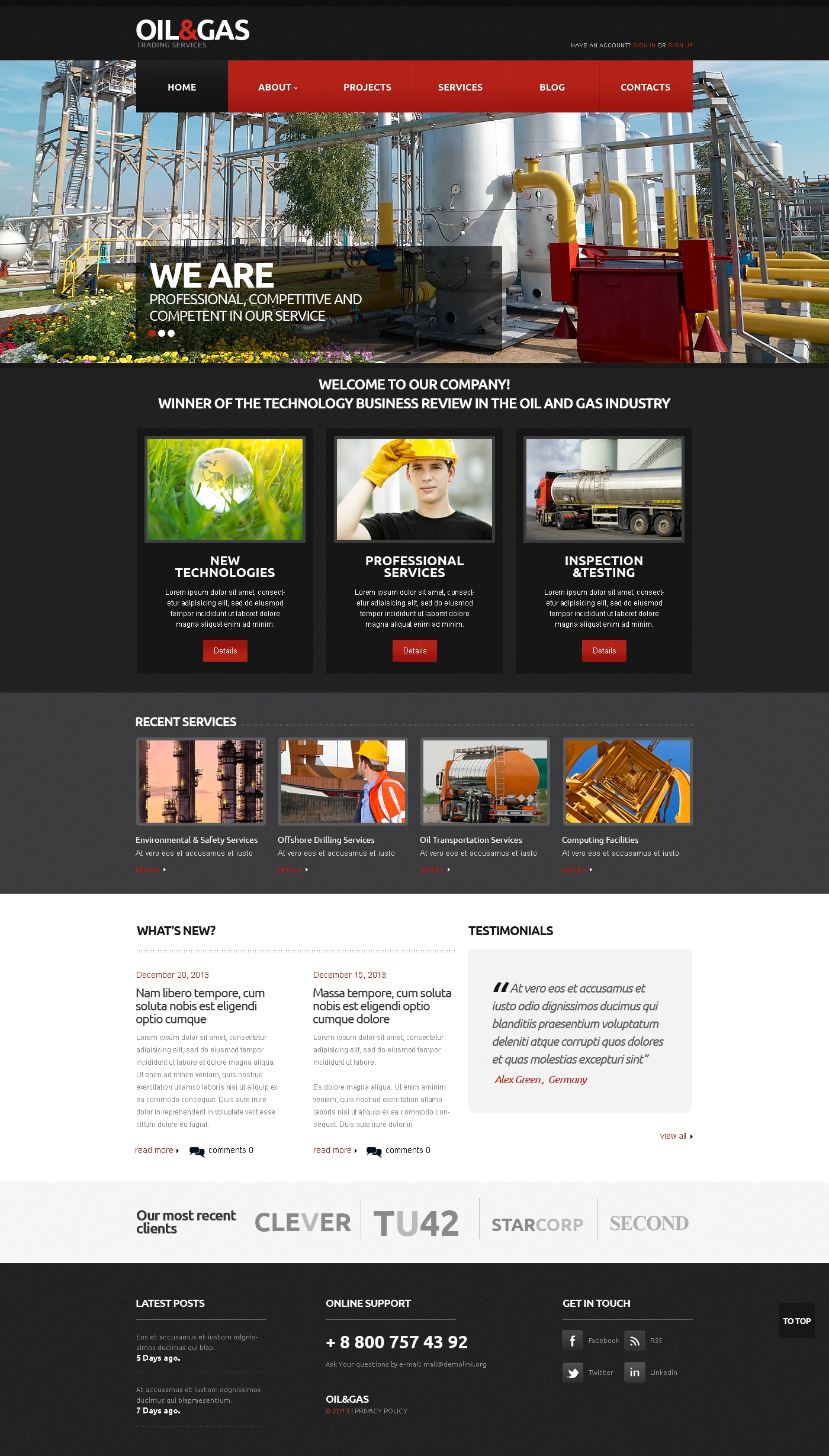 Gas & Oil Responsive Website Template #45692